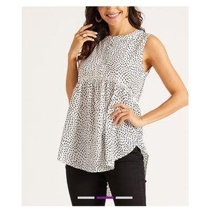 🆕 White and Black Dot Sleeveless Tunic